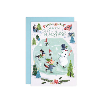 Warm Wishes Skating Animals Holiday Card