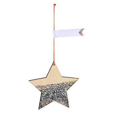 Wooden Glitter Star Ornament