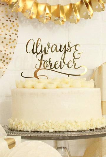 My Mind's Eye Always & Forever Gold Acrylic Cake Topper