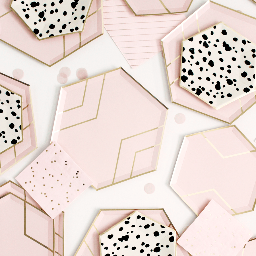 Blush Pink and Gold Hexagon Plates - Small
