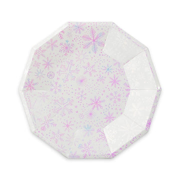 Frosted Iridescent Snowflake Plates