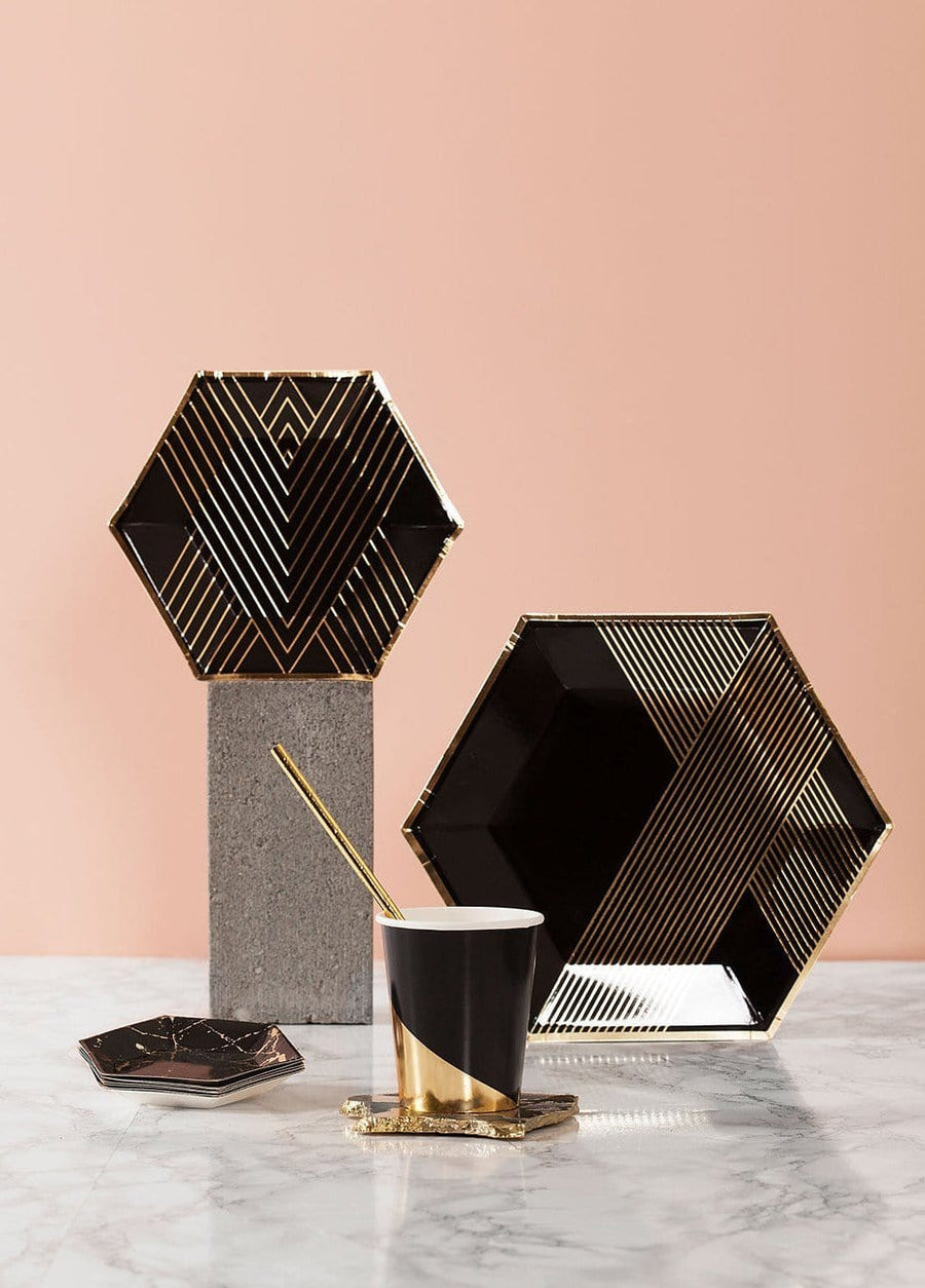 Black and Gold Colourblock Cups
