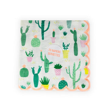 Scalloped Cactus Cocktail Napkins - Large