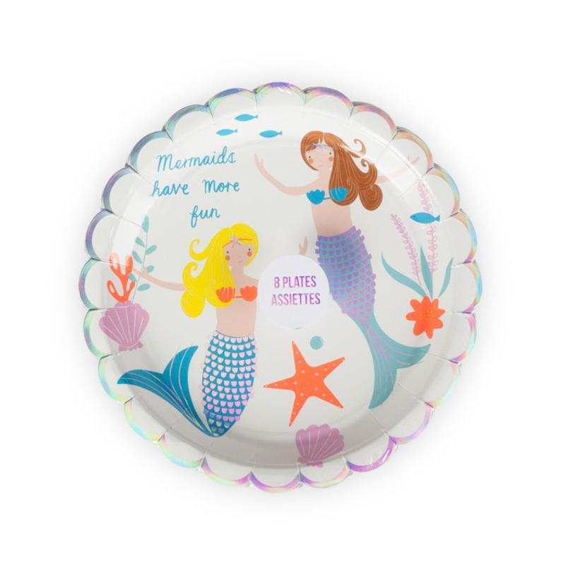 Meri Meri Scalloped Mermaids Have More Fun Plates