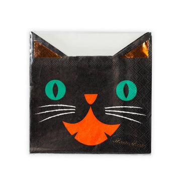 Meri Meri Laughing Black Cat Copper Foiled Halloween Napkins