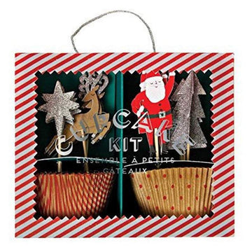 Jingle All the Way Santa, Reindeer, Star, Christmas Tree Cupcake Kit