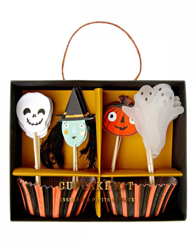 Skull, Witch, Ghost, and Jack O Lantern Halloween Cupcake Kit