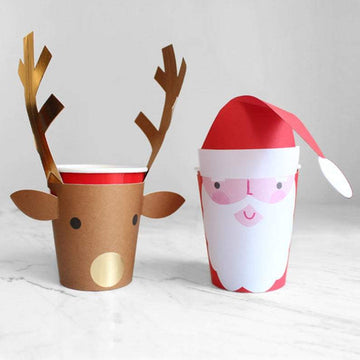 Meri Meri Santa and Gold Foil Reindeer Cups