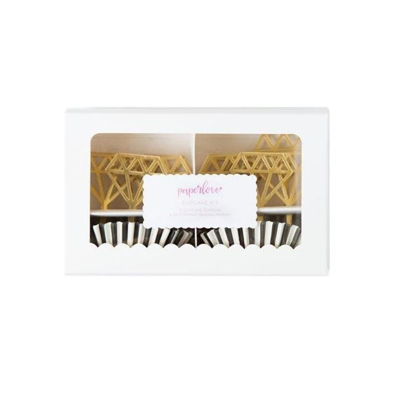 Gold Acrylic Diamond Toppers Cupcake Kit
