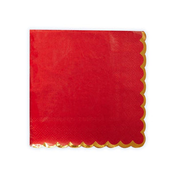 Red and Gold Foil Scalloped Napkins