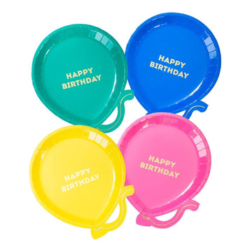 Rainbow Mix Balloon Birthday Plates