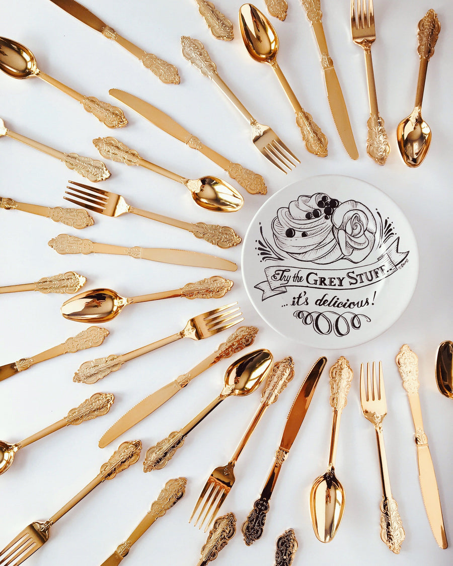 Ornate Gold Disposable Cutlery