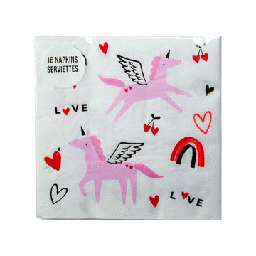 Valentine Unicorn Napkins - Large