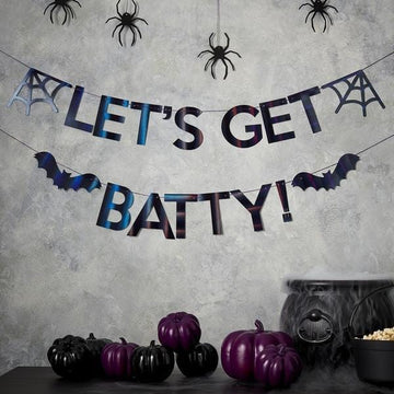 Let's Get Batty Black Iridescent Banner
