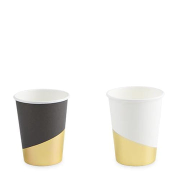 Black and White Gold Foil Cups