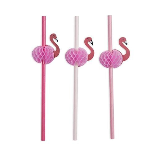 Pink Flamingo Honeycomb Straws