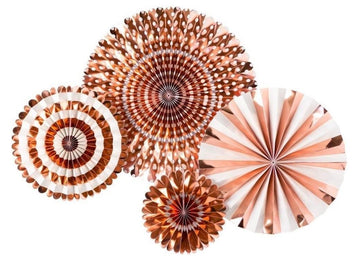 Rose Gold Foil Party Fan Set