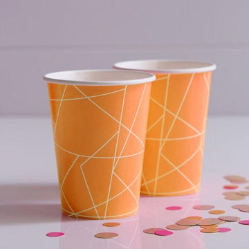 Orange Geometric Cups