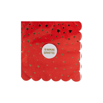 Meri Meri Gold Star Red Scalloped Napkins