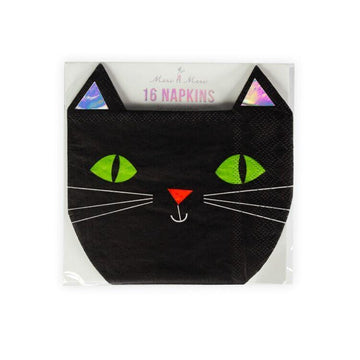 Meri Meri Halloween Black Cat Die Cut Napkins