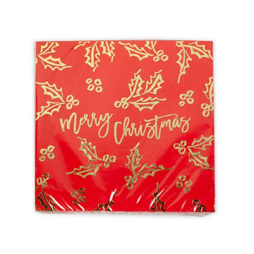 Merry Christmas Holly Gold Foil Napkins