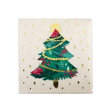 Pink Watercolour Christmas Tree Gold Foil Napkins