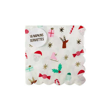 Meir Meri Christmas Icon Scallop Cocktail Napkins