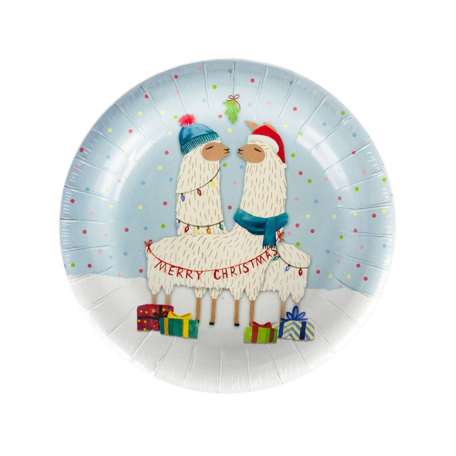 Merry Christmas Llama Holiday Plates