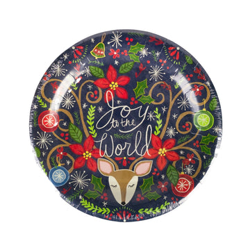 Joy to the World Reindeer Holiday Plates