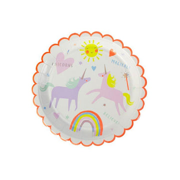 Meri Meri Round Scalloped Unicorn Plates