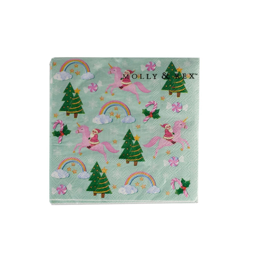 Rainbow Santa and Unicorn Holiday Napkins