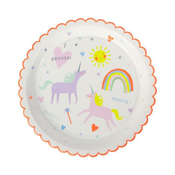 Meri Meri I heart unicorns scalloped plates