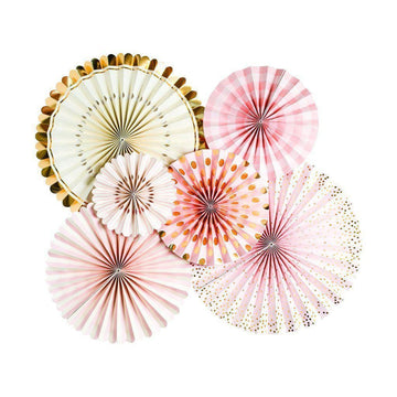 bride to be pink and gold pinwheel fans