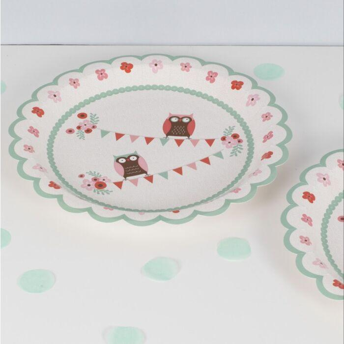 Scalloped Owl Party Plates (Large) - Preorder