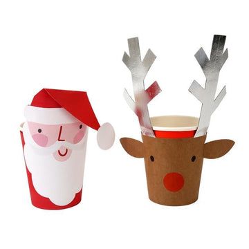 Santa and Silver Foil Reindeer Cups