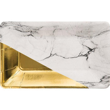 Gold and Marble Rectangle Plates - Preorder