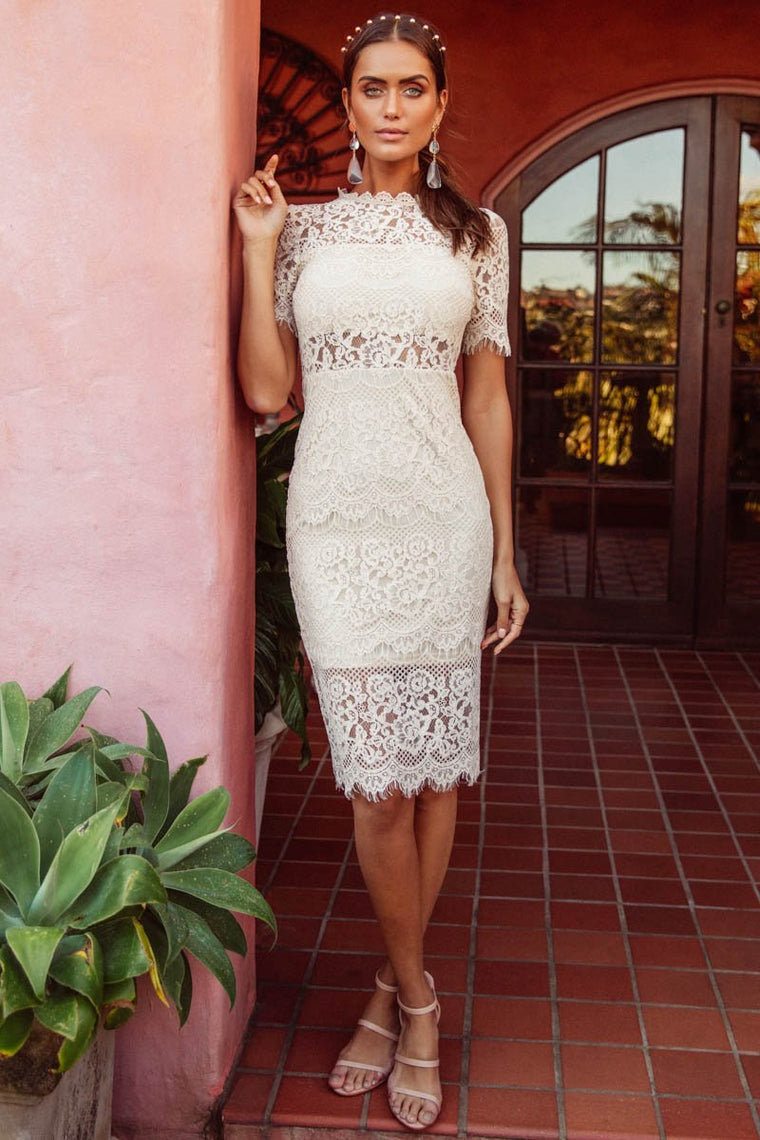 Dylan Lace Midi- Cream