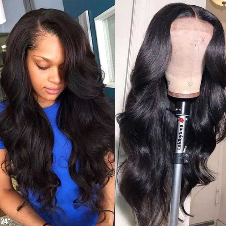 13X4 Lace Front wavy Human Hair Wigs 180 Density