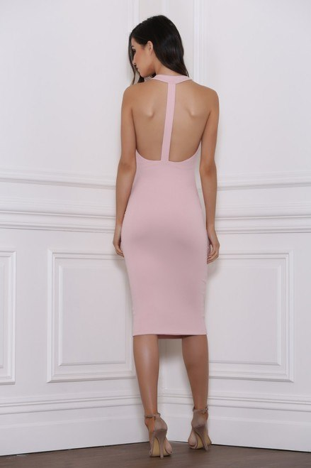 Rhinna T Back Dress-Dusty Pink