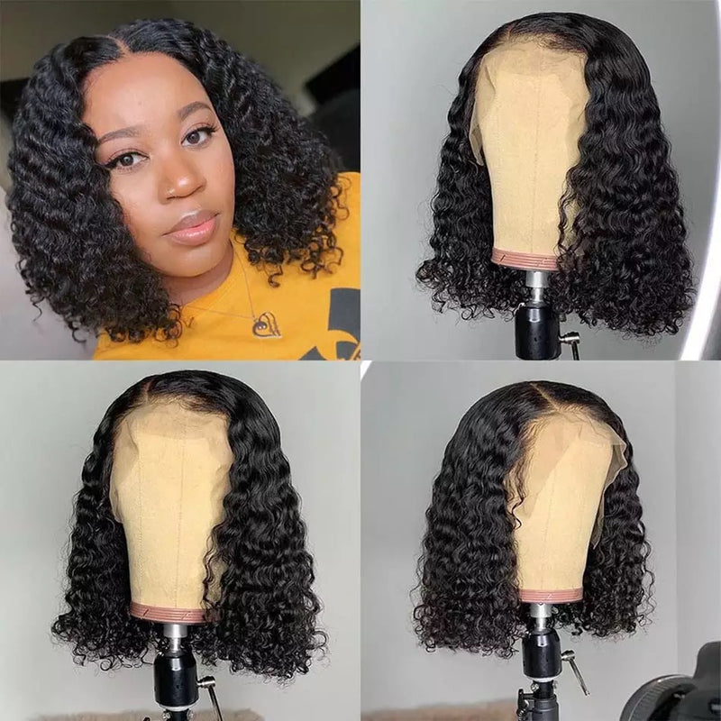 Curly Short Bob front lace wig human hair