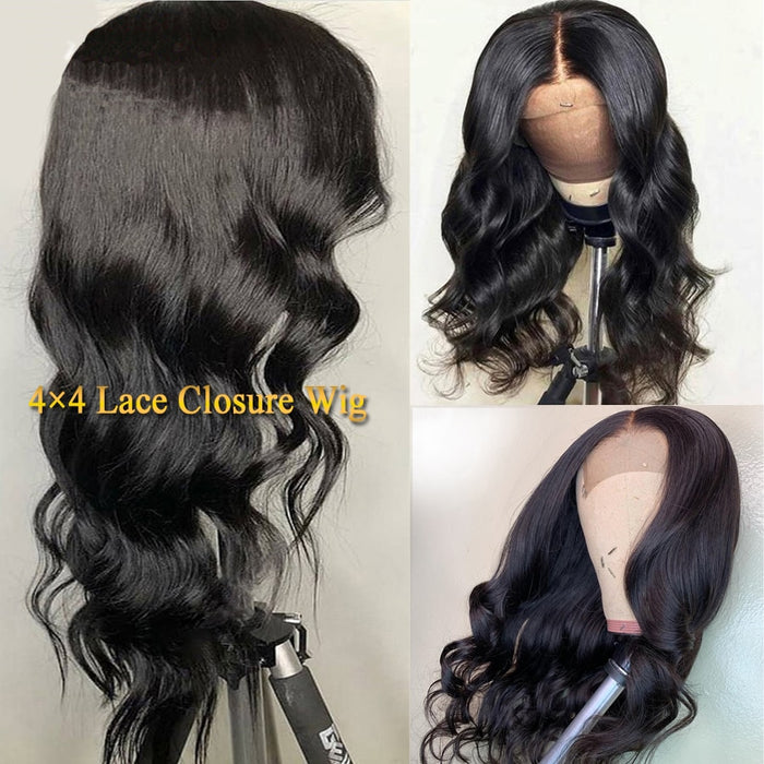 Closure Lace Front Human Hair Body Wave Wig 4x4