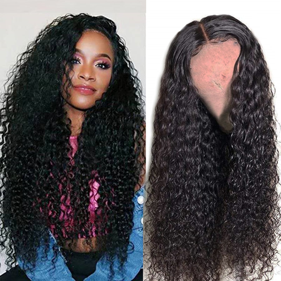Lace Front Human Hair Wigs Kinky Curly 150% Density