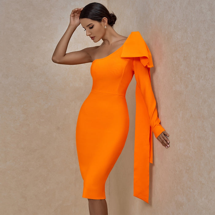 Adriana One Sleeve Bandage Dress- Orange