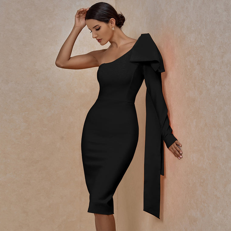 Adriana One Sleeve Bandage Dress- Black