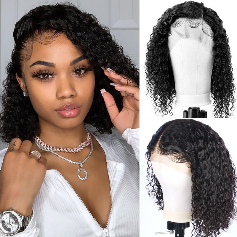 Curly Lace Front Human Hair Wigs Deep Water Wave