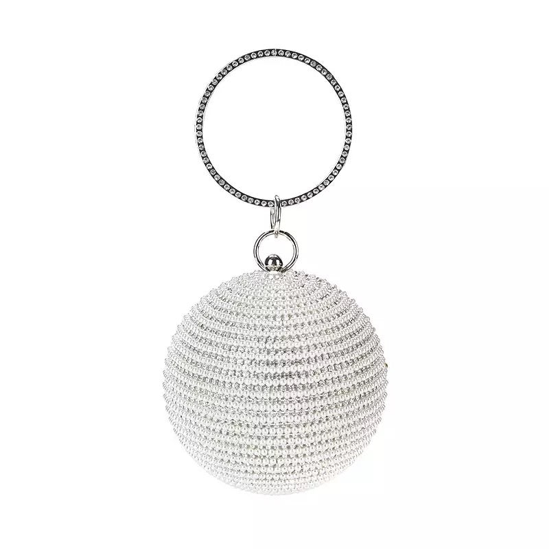 Silver Diamond Pearl Round Ball- Silver