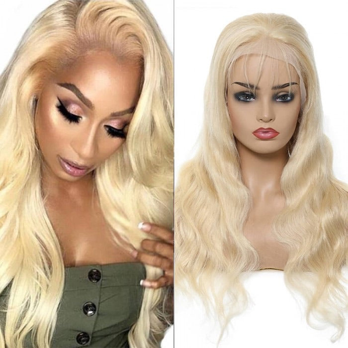 613 blonde body wave 13x1 lace human hair wig