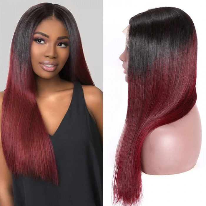 Ombré burgundy Brazilian Human hair Remy Transparent front lace