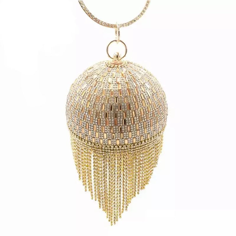 Golden Diamond Tassel Round Ball- Golden