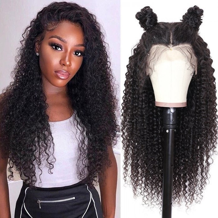 Deep Wave curly Human Hair wig 13x4 180 Density